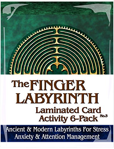 Finger Labyrinth Laminated Card 6-Pack 3: Focus Tools for Stress, Anxiety, PTSD, ADHD & Autism