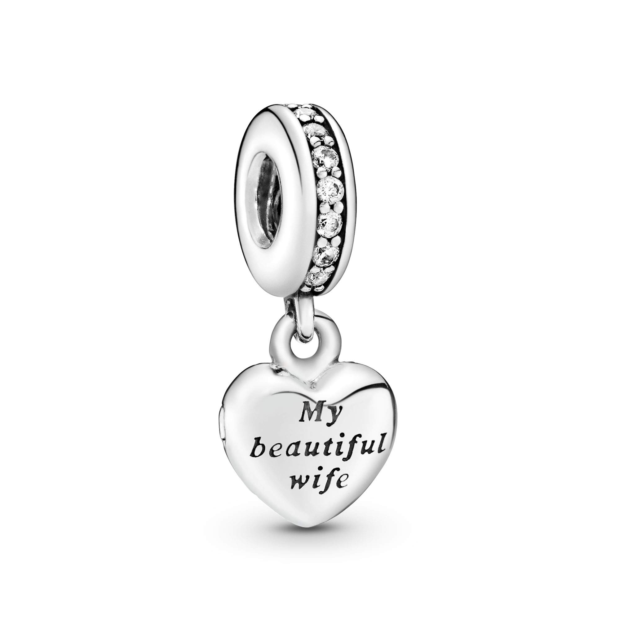 Jewelry My Beautiful Wife Dangle Cubic Zirconia Charm in Sterling Silver