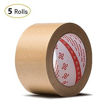Jia Hu - Cinta adhesiva de papel kraft (5 rollos), diseño de parte trasera plana, para caja de cartón 50 mm: Amazon.es: Oficina y papelería