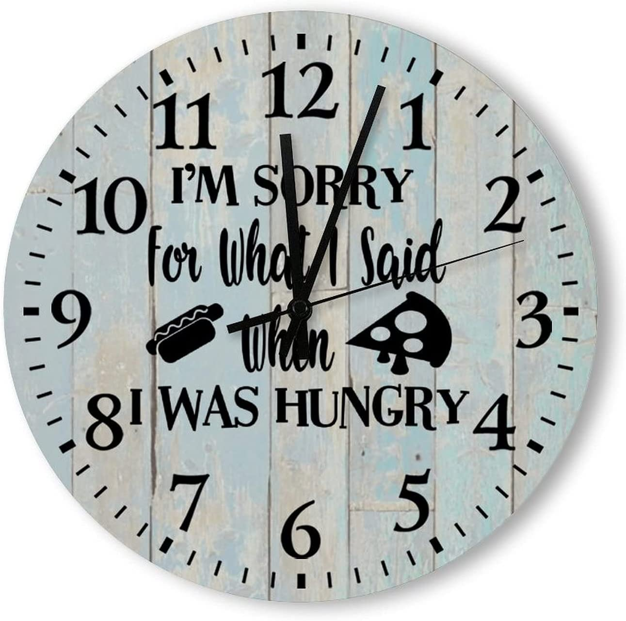 Free Brand Retro Wooden Wall Clock 12 Inch, I'm Sorry for What I Said When I was Hungry, Noiseless Round Battery Operated Men Women Home Decor Gift