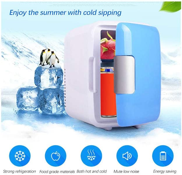 Multi-Function Mini Fridge, Elevin(TM) Portable 4L Small Fridge Fast Cooling Electronic Refrigerator for Car/Office Desk/Cosmetic Drug Skin Care Products/Outdoor Fishing Activity (White)