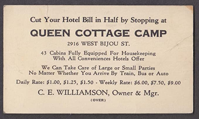 Queen Cottage Camp 2916 West Bijou St Colorado Springs Business Card
