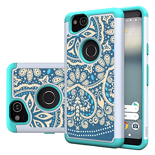 Google Pixel 2 Case, LEEGU [Shock Absorption] Dual Layer Heavy Duty Protective Silicone Plastic Cover Armor Case for Google Pixel 2 Phone 2017 - Blue Flower