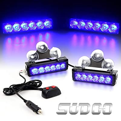 "2 X 6 LED Emergency Strobe Light Bar - 6.5"" 24W 9 Modes Traffic Advisor Emergency Beacon Warning Vehicle Strobe Flashing Lights Bar Kit for Interior Roof/Dash/Windshield/Grille/Deck (Blue): Automotive"