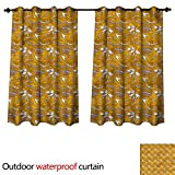 cobeDecor Jurassic Outdoor Balcony Privacy Curtain Mesozoic Period Fossils W108 x L72(274cm x 183cm)