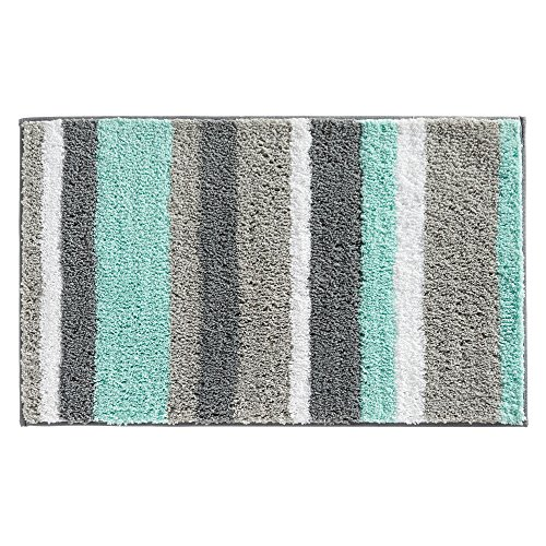(InterDesign Stripz Bath, Machine Washable Microfiber Accent Rug for Bathroom, Kitchen, Bedroom, Office, Kid's Room, 34