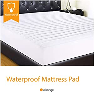 """Allrange Clean&Safe Quilted Fitted Waterproof Mattress Pad, Stretch-up-to 16"""", Moisture Management, Snug Fit, Mattress Protector, Full"""