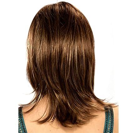 JIAN Tai-chi pelucas sintéticas liso marrón para mujer sin tapón Medio Pelo sintéticos
