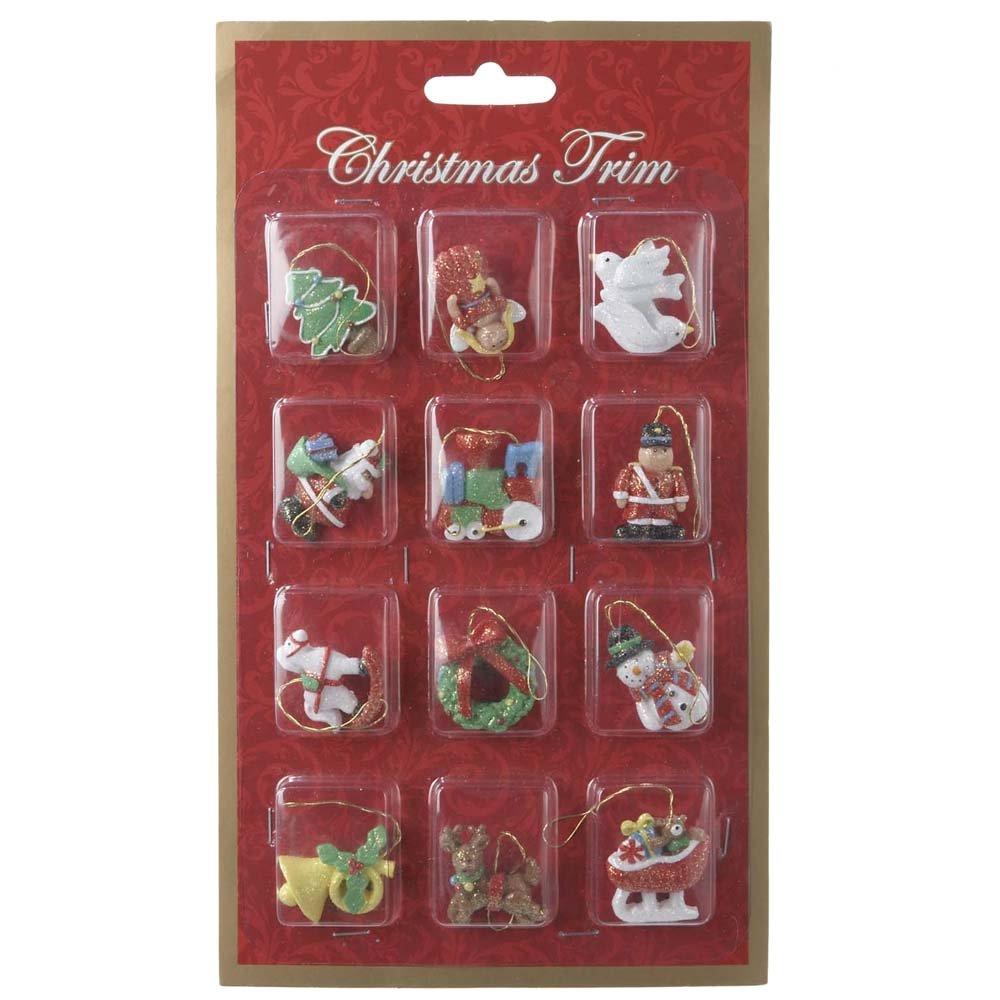 Kurt Adler 12-Piece Resin Petite Treasures Ornament Set, Mini