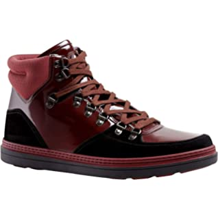 2cc0893146d Gucci Contrast Combo Dark Red Patent Leather Suede High top Sneaker 368496  1078