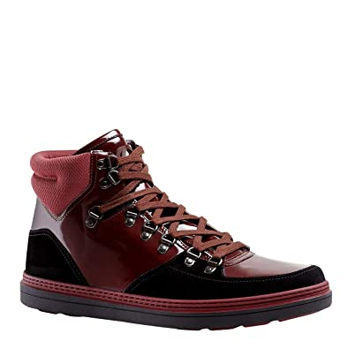 Gucci Red sneakers Gucci Contrast Combo Dark Red Patent Leather/Suede High top Sneaker 368496  1078 (7.5
