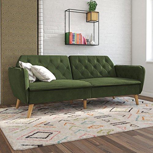 Novogratz Tallulah Memory Foam Futon, Green (Sectional Emerald Green Sofa)