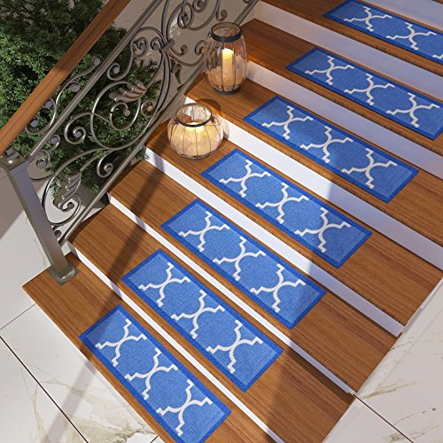 Blue Treads ([Set of 7] Blue Stair Tread Rugs | Modern Design Trellis Lattice Carpet Pads [Easy to Clean] Rubber Non-slip Non-skid Backing | Nylon Low Pile 9