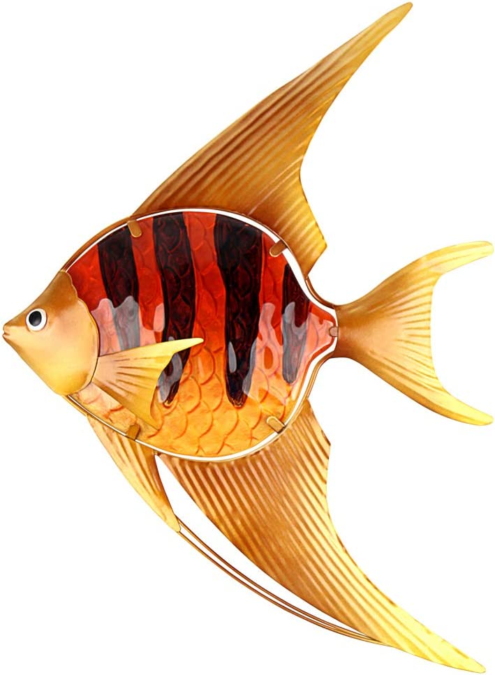 John's Studio Metal Fish Wall Decor Bathroom Glass Art Iron Angelfish Sculpture Outdoor Orange Hanging Decoration for Home Bedroom Garden Patio Porch or Fence