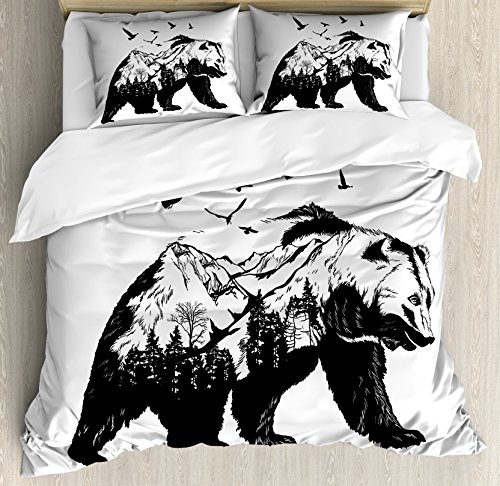 Ambesonne Bear Duvet Cover Set King Size, Mammal Silhouette with Mountain Landscape Flying Birds and Forest Wildlife Design, Decorative 3 Piece Bedding Set with 2 Pillow Shams, Black White
