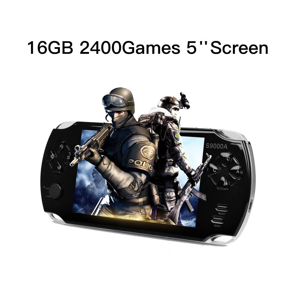 AURANY Handheld Game Console,16GB PAP Classic Handheld portable game console with 5 Inch TFT Bigger screen. 2400 popular games and 3M Camera built-in. Supports Video & MP3 player. Birthday