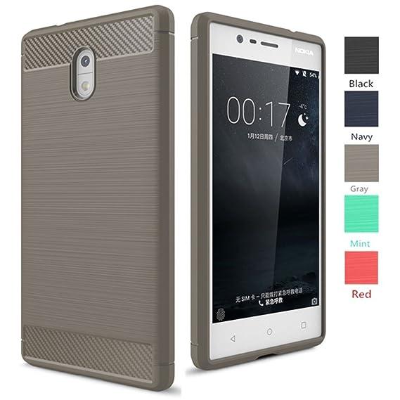 quality design 06617 40fea Nokia 3 Case, Dretal [Shock Resistant] Flexible Soft TPU Brushed  Anti-fingerprint Full-body Protective Case Cover For Nokia 3 (5