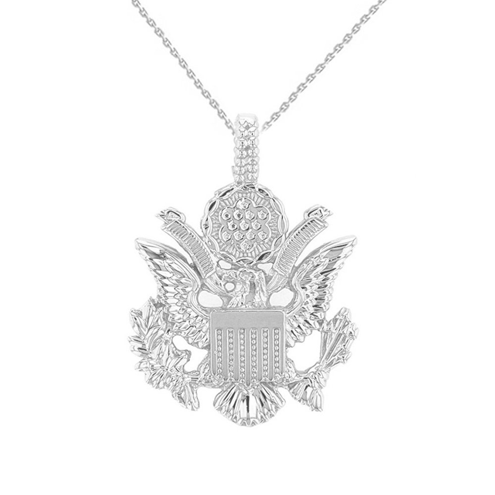 United States Great Seal in 14k White Gold Pendant Necklace, 20''