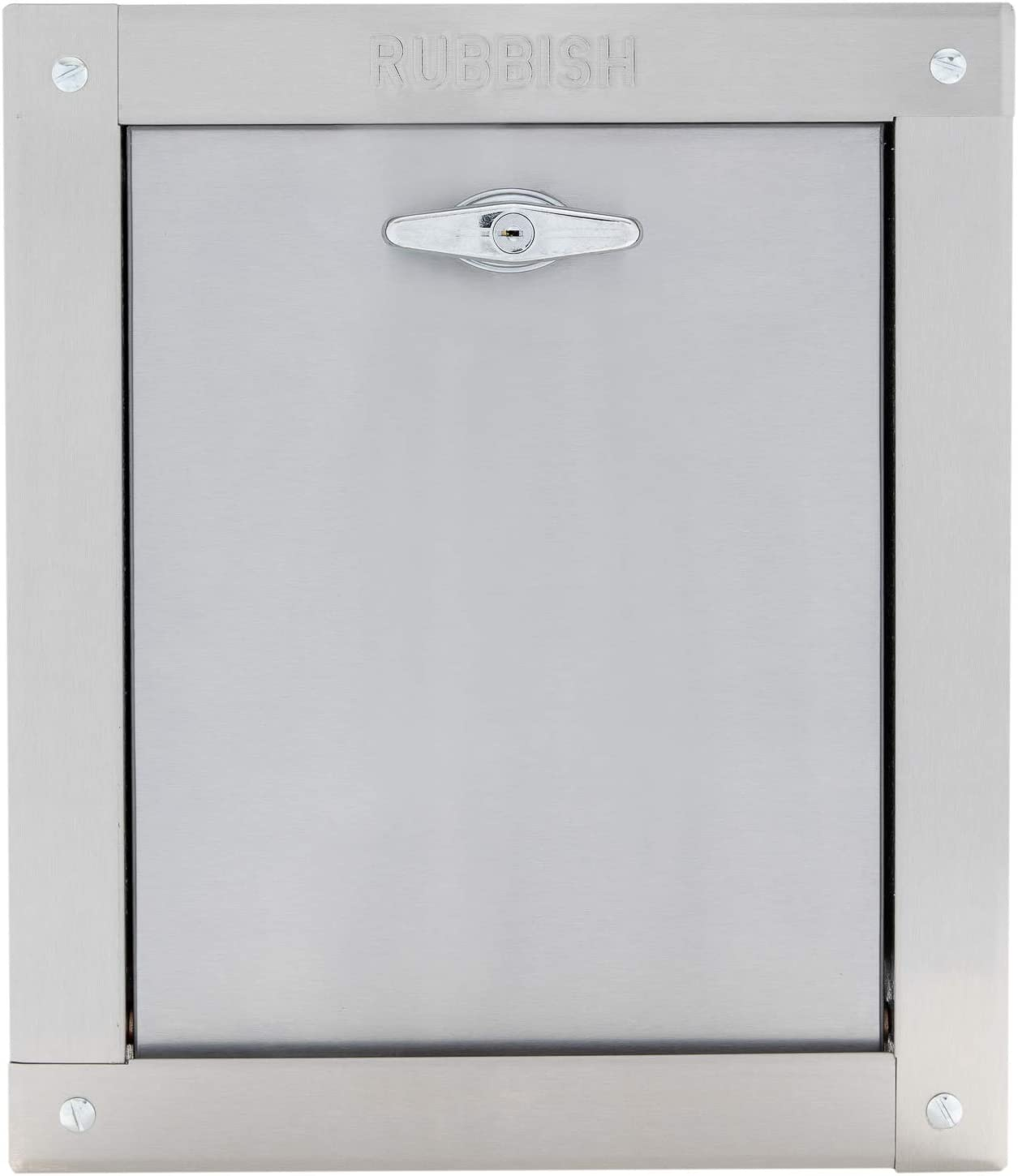 "Midland Style Stainless Steel Trash Chute Door - Noiseless Self Closing Bottom Hinged Fire Rated & UL Approved (12"" X 15"")"