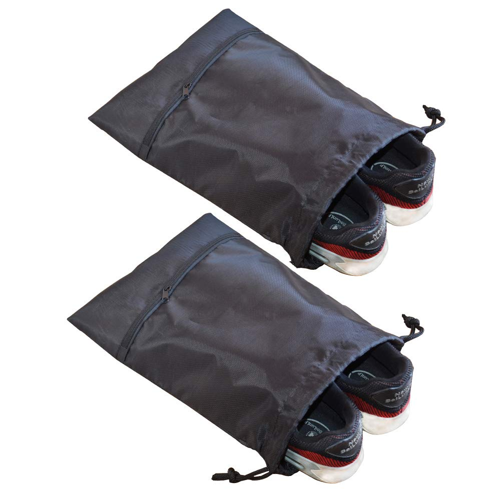 FXICAI Shoe Bags for Travel 420D Polyester Drawstring Zipper Shoe Storage Bags (Black-Set of 2)