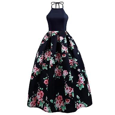 b65d14d340dfb Minisoya Summer Women Floral Long Swing Dress Sleeveless Prom Party Ball  Gown Formal Evening Beach Maxi