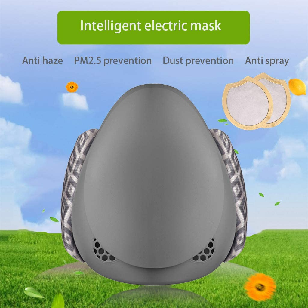 Built-in Turbo Fan Ussuma Women Men Luxury Intelligent Electric Face Covering Fashion Reusable Anti-Dust Face for Unisex Adult Adjustable Three-Speed Mode