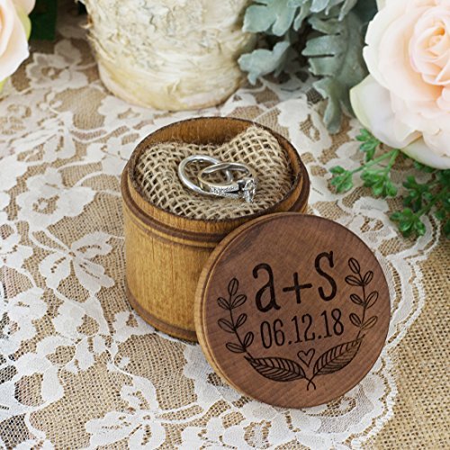 Date Ring (Personalized Engraved Ring Bearer Pillow Box - Leaves Initials and Date)