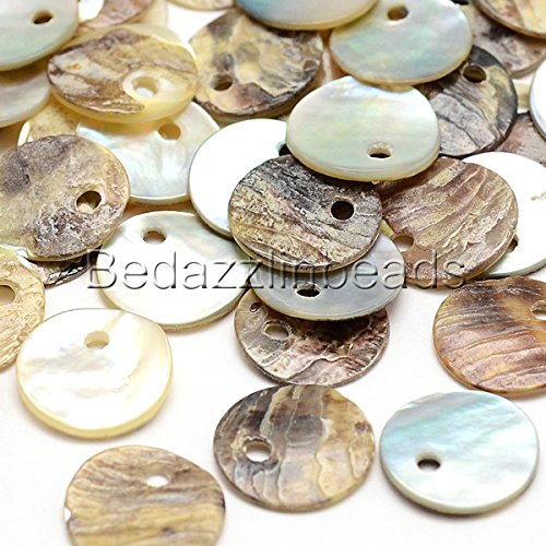 100 Natural 10mm Flat Round Mussel Shell Drop Charm Beads with Iridescent Back (Shell Coin Beads)