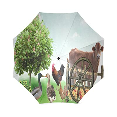 Custom Rooster Compact Travel Windproof Rainproof Foldable Umbrella durable modeling