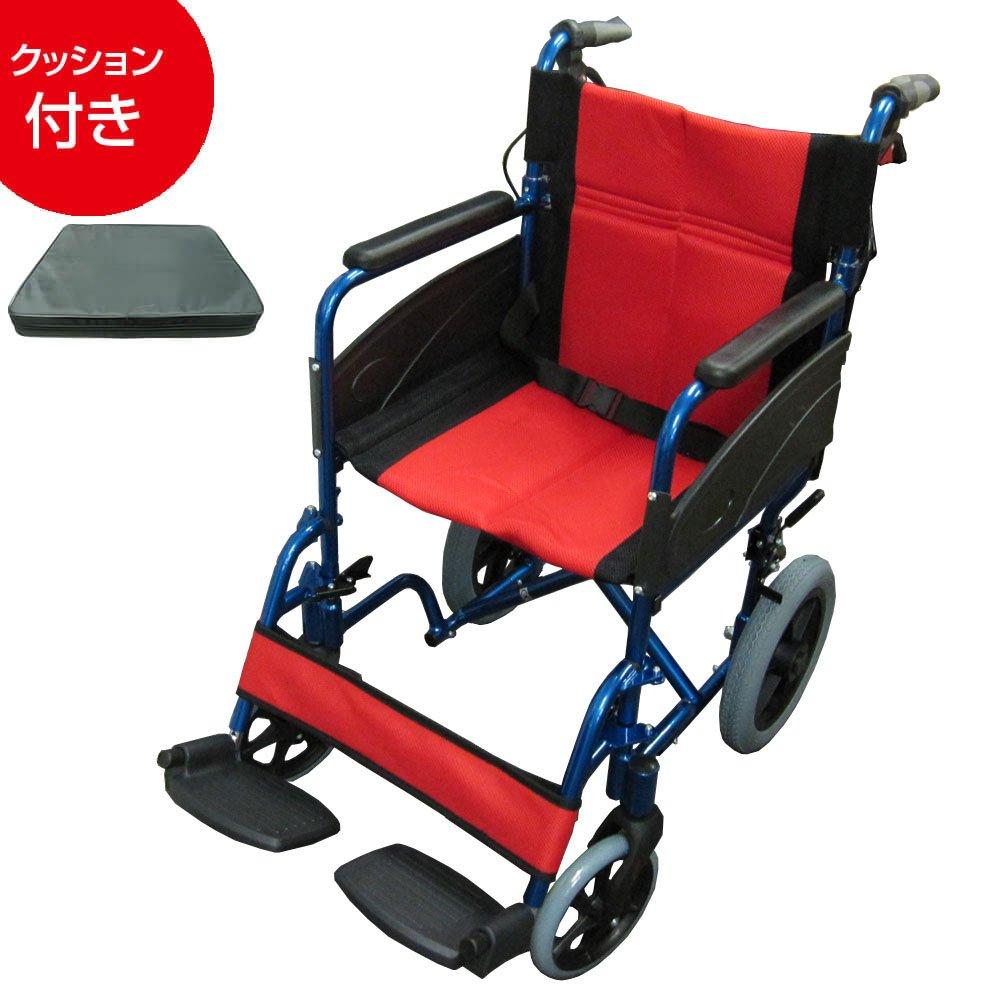 【非課税】Nice Way2(ナイスウェイ) 折りたたみ式 車椅子(ブルー(クッションセット))【座面幅約46cm】【ゆったりサイズ】【簡易式】【NW976LABJ】【介護介助用】【介助ブレーキ付き】 B01M02A0T1 ブルー(クッションセット) ブルー(クッションセット)