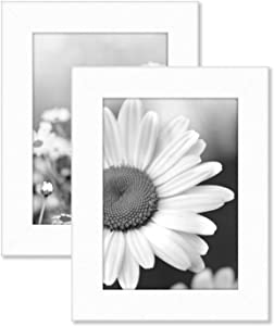 Americanflat 4x6 Picture Frame in White Set of 2 - Composite Wood with Shatter Resistant Glass - Horizontal and Vertical Formats for Wall