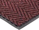 Durable Vinyl Chevron Rib Indoor Entrance Mat, 3' x 4', Burgundy