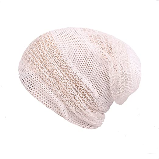 c3d4fc5fcbd DIY Women s Cotton Breathable Mesh Net Hat Turban Slouchy Beanie Chemo Cap  (Beige)