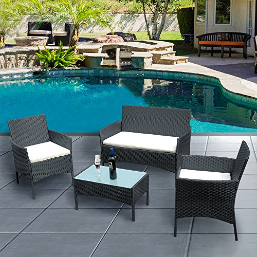 Across-US 4 Pieces Rattan Patio Set Wicker Garden Furniture Table and Chairs Conversation Outdoor Black