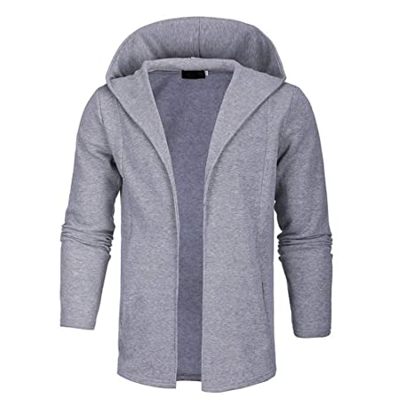Amazon.com: Easytoy Mens Long Sleeve Draped Lightweight Open Front Longline Hooded Cardigan: Health & Personal Care