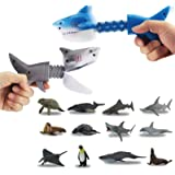GreenKidz 2PCS Hungry Shark Grabber Toys with 12PCS Small Sea Animal Figures Playset Extending Grabber Claw Game Snapper…