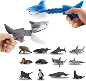 DINOBROS Hungry Shark Grabber Toys 2 Shark Grabbers with 12 Mini Sea Animals Figure Playset Claw Chomper Toy Shark Bite Game for Boys