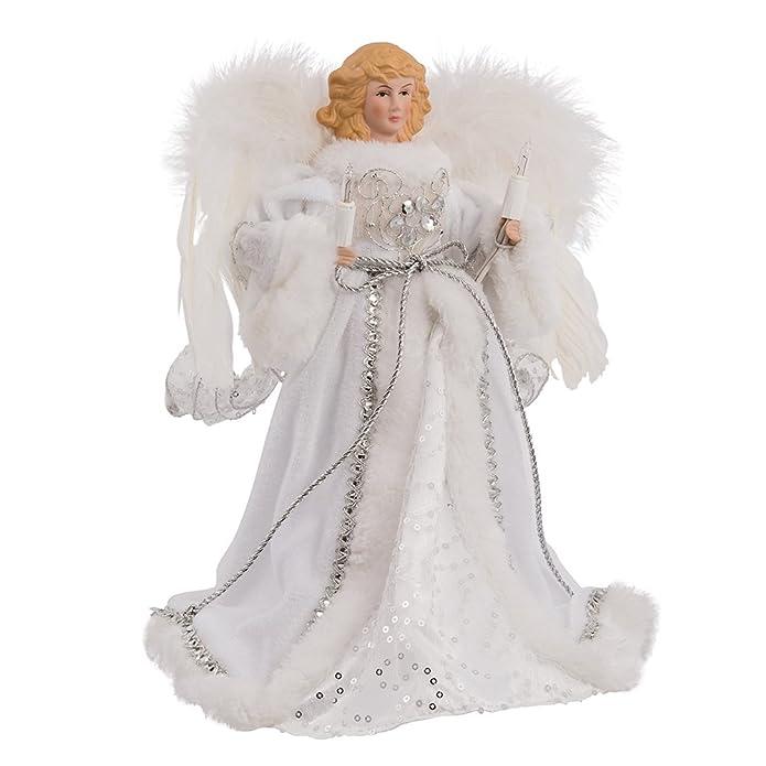 Kurt Adler 12u0022 10-Light White and Silver Angel Treetop
