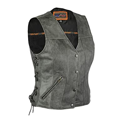 Daniel Smart Motorcycle Ladies Distressed Grey Snap Button Premium Side Lace Leather Vest New