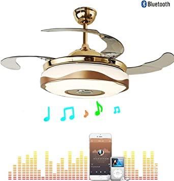 Moerun 42'' Modern Ceiling Fan with Light Smart Bluetooth Ceiling Fans Music Player 3 Speeds 7 Colors LED Chandelier Invisible Blades with Remote,