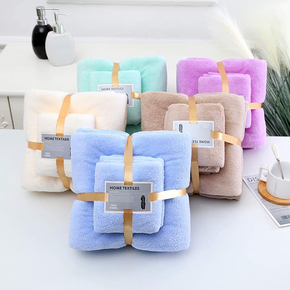Luxury Cotton 4 Pack Brown Bath Towels (2pcs - 28x55 in, 2pcs - 14x30 in). Towels Bathroom Sets - Soft, Fluffy, Absorbent Towel