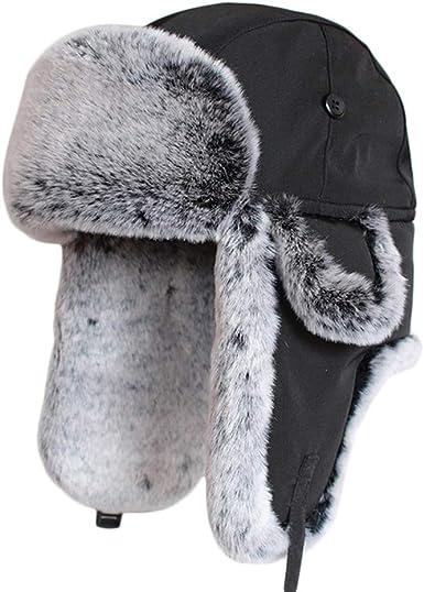 WINTER RUSSIAN TRAPPER HAT mens XL warm black /& grey fur cossack Soviet ushanka