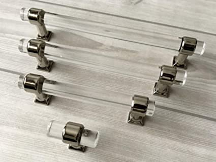 2.5 3u0026quot; 3.5u0026quot; 4.25 4.5 5u0026quot; 5.5 Acrylic Drawer Handle Lucite  Cabinet Pulls