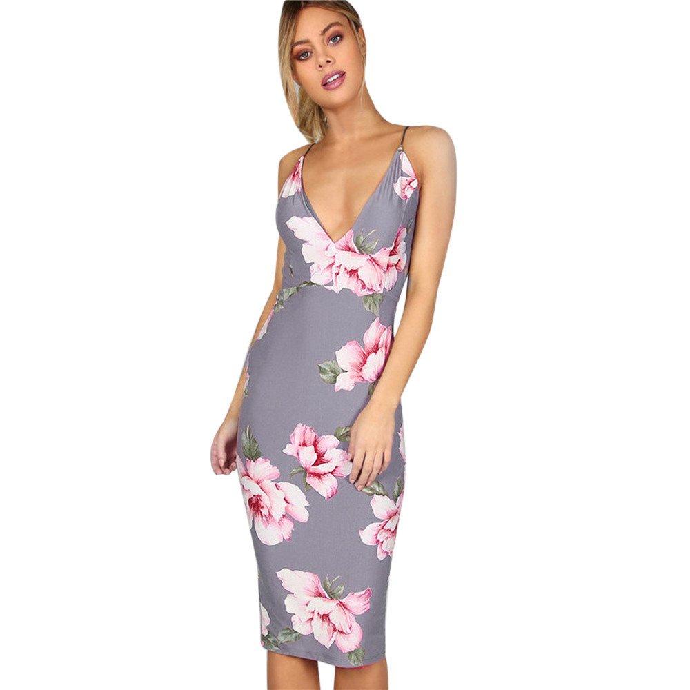 iLUGU V Neck Sleeveless Mini Dress For Women Floral Print Backless Package Hip Pencil Dress Christmas Dress