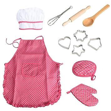 Ndier 11pcs / Pack Chef de Cocina Conjunto de niños Juegos de rol Traje del Cocinero con el Delantal del Cocinero Sombrero Utensilios de Cocina Mitt ...