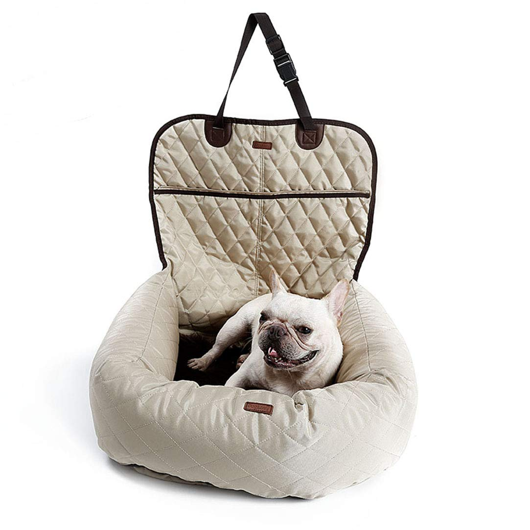 Beige 2 in 1 Pet Booster Bed Deluxe Dog Pet Car Seat Cover Bed & Lounge (Beige)