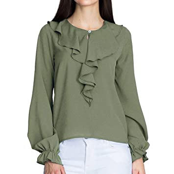 f226eedf58012b Amazon.com: Malbaba Autumn Long Sleeve Blouse for Women, Fashion Women  Chiffon Solid T-Shirt Office Ladies Ruffle Long Sleeve Blouse Top: Musical  ...