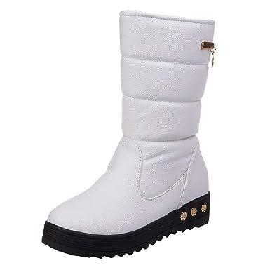 Toamen Botas De Nieve para Mujer De Cuero SóLido A Prueba De Agua De Invierno CáLido Martin Zapatos De Punta Redonda: Amazon.es: Ropa y accesorios