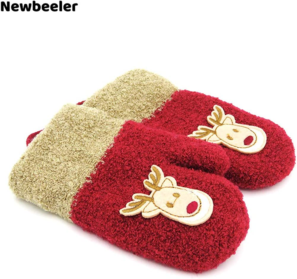 Newbeeler Toddler Gloves Winter 2-4Year Toddler Mittens Girl 1 Pair Kids Mittens Toddler Snow Gloves Red with Deer