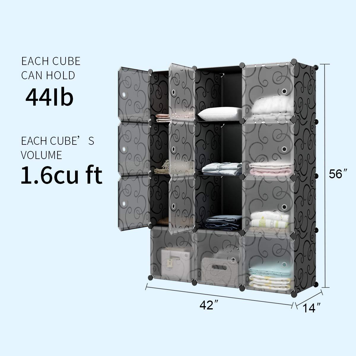 KOUSI Portable Storage Cubbies Storage Shelves Storage Organizer Shelf for Clothes Portable Shelf Toy Organizer Cabinet Plastic Dresser Clothes Storage Storage Cubes, Black, 12 Cubes by KOUSI (Image #4)